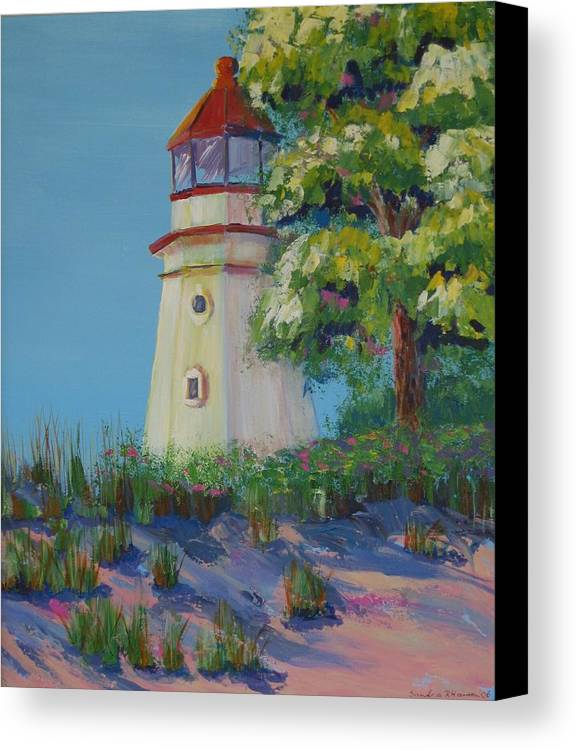 Lighthouse Canvas Print featuring the painting Cheboygan Lighthouse by Art Nomad Sandra Hansen