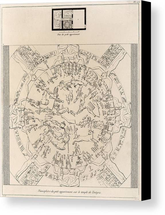 Dendera Zodiac Canvas Print featuring the photograph Dendera Zodiac From The Temple Of Hathor by Humanities And Social Sciences Libraryasian And Middle Eastern Division
