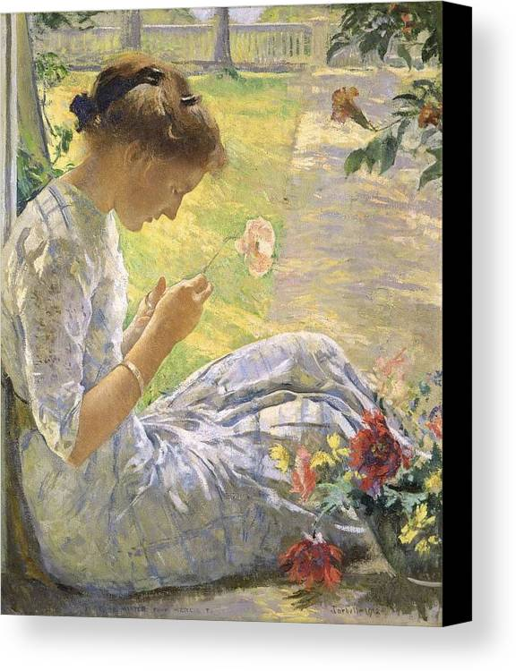 Girl Canvas Print featuring the painting Edmund Charles Tarbell - Mercie Cutting Flowers 1912 by Edmund Charles Tarbell