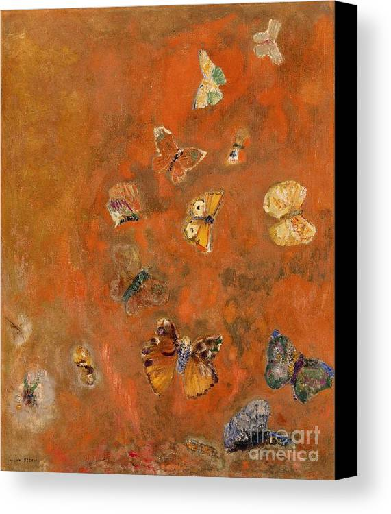 Evocation Canvas Print featuring the painting Evocation Of Butterflies by Odilon Redon