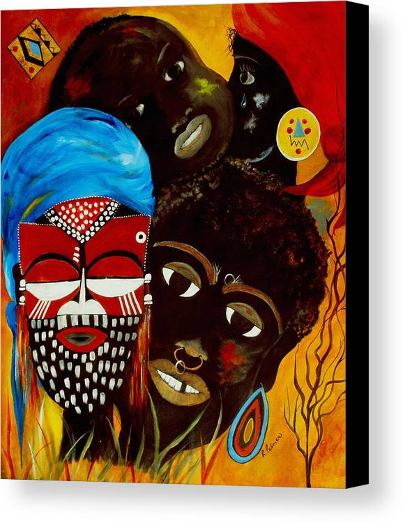Abstract Canvas Print featuring the painting Faces Of Africa by Ruth Palmer