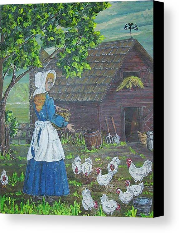 Barn Canvas Print featuring the painting Farm Work I by Phyllis Mae Richardson Fisher