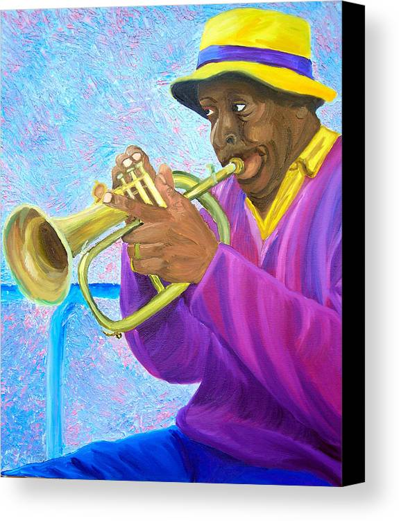 Street Musician Canvas Print featuring the painting Fat Albert Plays The Trumpet by Michael Lee