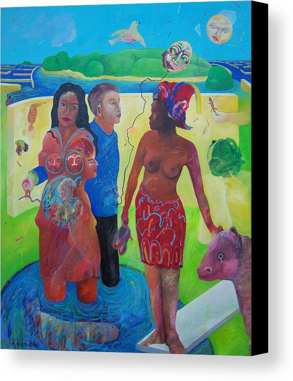 Human Relationships Canvas Print featuring the painting Fishing For Chance Answers by Richard Heley