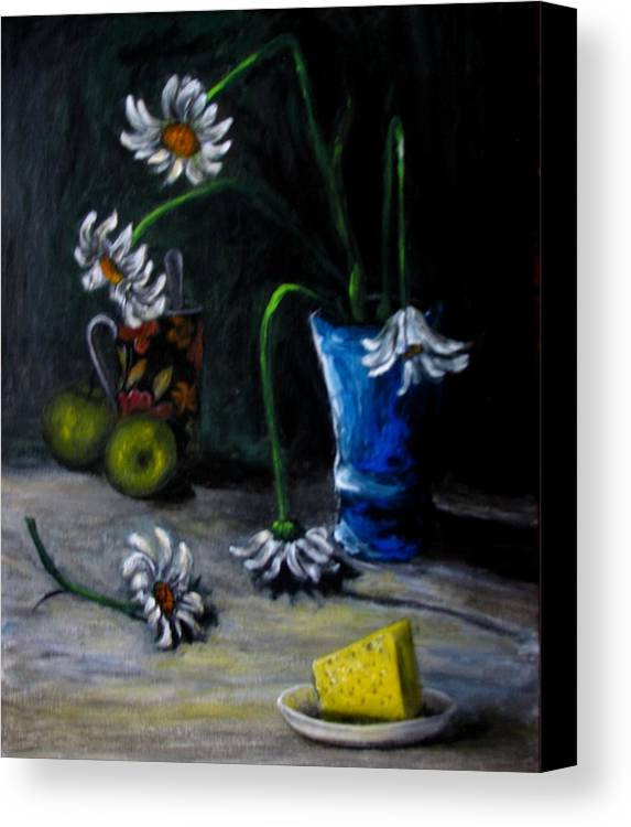 Flower Canvas Print featuring the painting Flowers Camomiles Still Life Acrylic Painting by Natalja Picugina