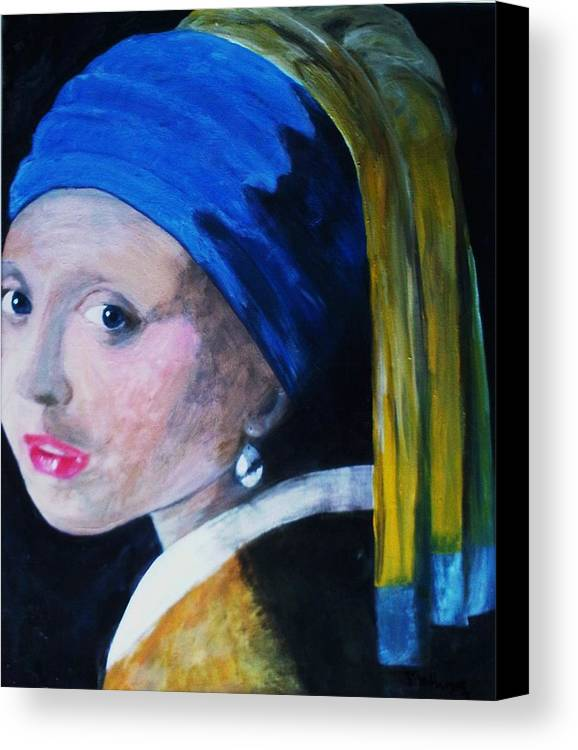 Haeger Art Painting Canvas Print featuring the painting Girl With The Pearl Earring by Tina Haeger
