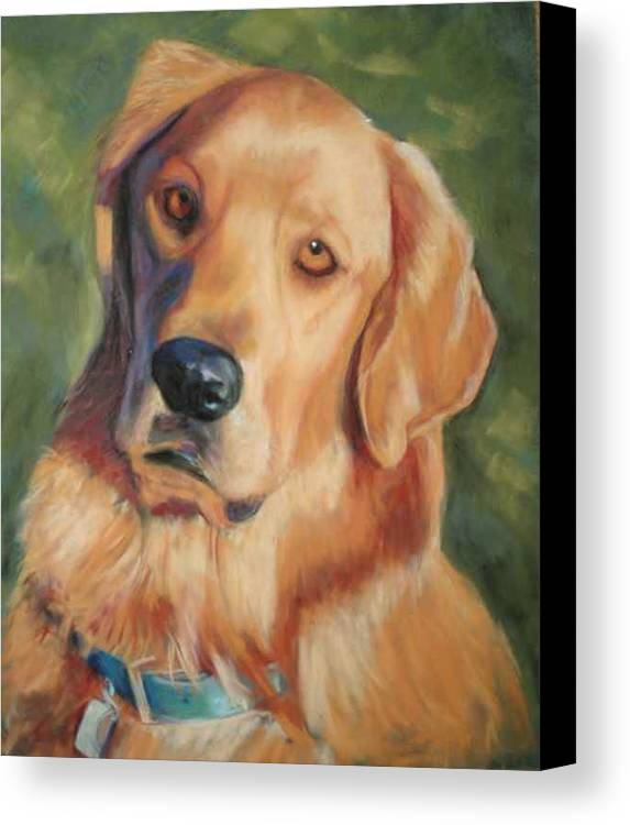 Golden Retriever Canvas Print featuring the painting Golden Boy by Billie Colson