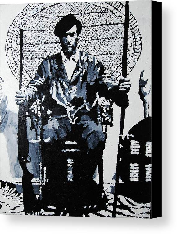 Black Panther Canvas Print featuring the painting Huey Newton Minister Of Defense Black Panther Party by Lauren Luna