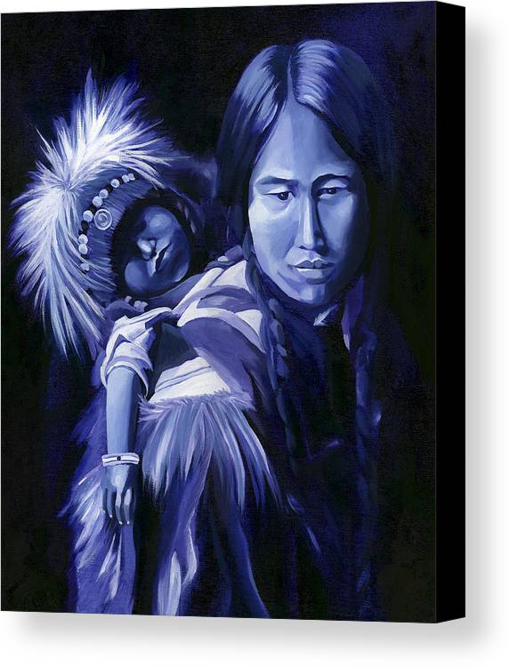 Native American Canvas Print featuring the painting Inuit Mother And Child by Nancy Griswold
