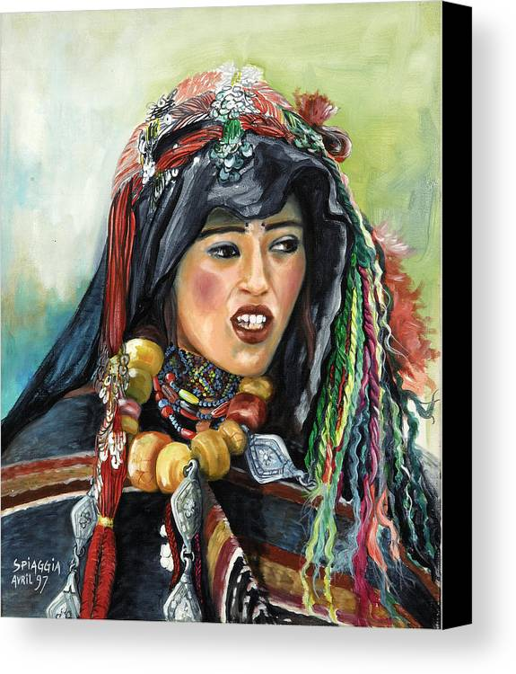 Morocco Canvas Print featuring the painting Jeune Femme Berbere De Atlas Marocain by Josette SPIAGGIA