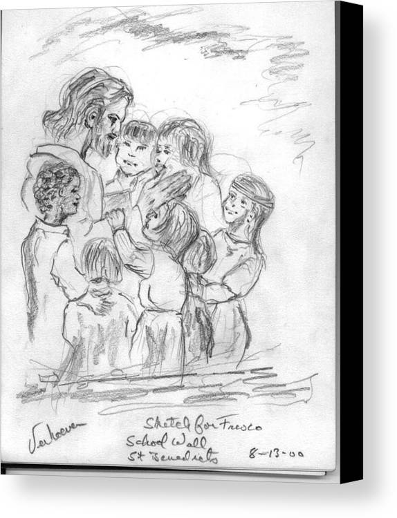Sketch Jesus Chldren Religious Canvas Print featuring the drawing Keep Not The Children From Me by Alfred P Verhoeven