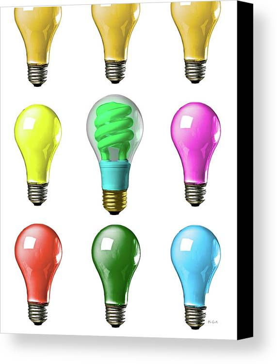 Business Canvas Print featuring the photograph Light Bulbs Of A Different Color by Bob Orsillo