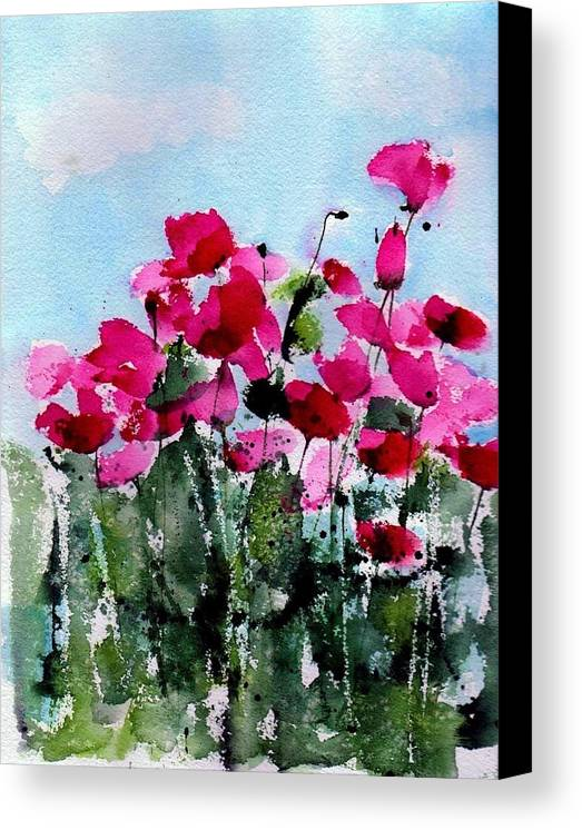 Poppies Canvas Print featuring the painting Maddy's Poppies by Anne Duke