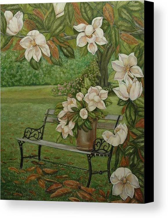 Magnolia Canvas Print featuring the painting Magnolia Tree by Tresa Crain
