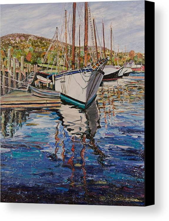 Maine Canvas Print featuring the painting Maine Coast Boat Reflections by Richard Nowak