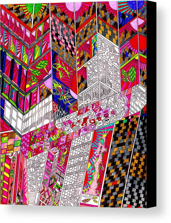 City Canvas Print featuring the drawing Metropoloitan Morning by Eric Devan