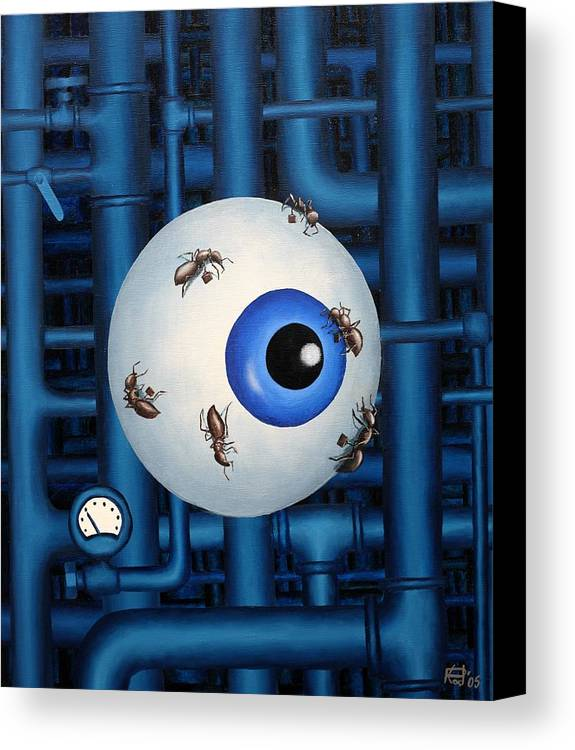 Steampunk Pipes Eye Ants Clock Industrial Surreal Canvas Print featuring the painting My Day Job by Poul Costinsky