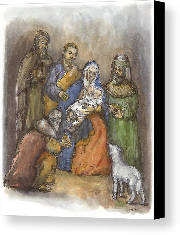 Nativity Canvas Print featuring the painting Nativity by Walter Lynn Mosley