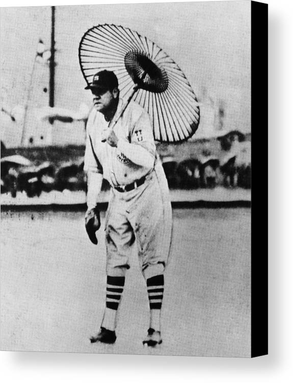 1930s Canvas Print featuring the photograph New York Yankees. Babe Ruth, Holding by Everett