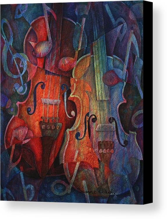 Susanne Clark Canvas Print featuring the painting Noteworthy - A Viola Duo by Susanne Clark