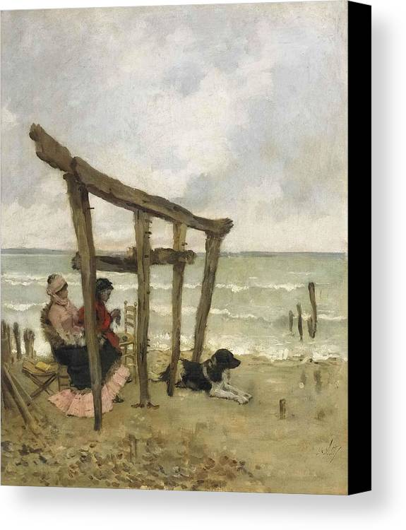 Giuseppe De Nittis Canvas Print featuring the painting On The Beach by MotionAge Designs