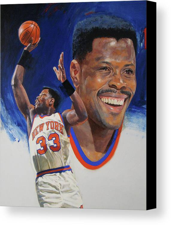 Oil/alkyd Canvas Print featuring the painting Patrick Ewing by Cliff Spohn