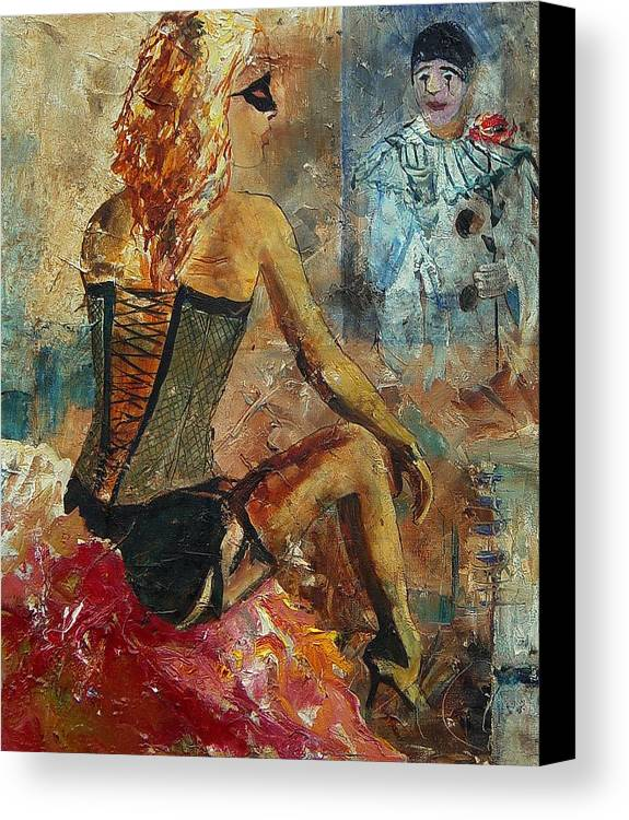 Girl Canvas Print featuring the painting Poor Pierrot by Pol Ledent
