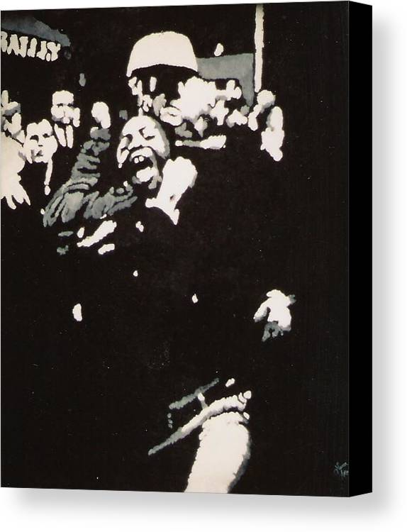 Civil Rights Canvas Print featuring the painting Protestor Yells To The Photographer During An Arrest 1968 by Lauren Luna