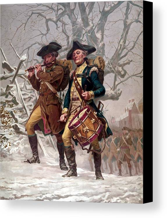 Minutemen Canvas Print featuring the painting Revolutionary War Soldiers Marching by War Is Hell Store