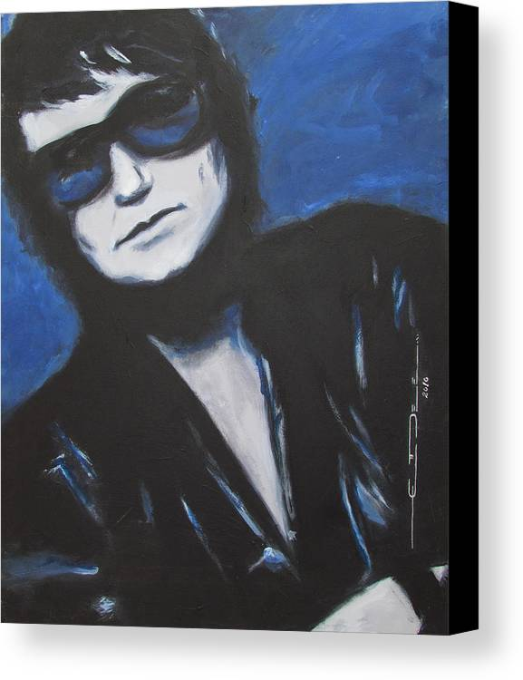Celebrity Portrait Canvas Print featuring the painting Roy Orbison In Beautiful Dreams - Forever by Eric Dee