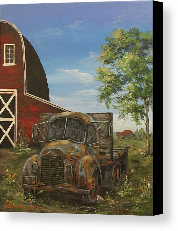Antique Canvas Print featuring the painting Rusted Truck by Nadia Bindr
