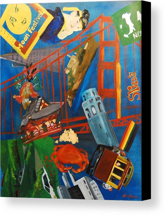 Golden Gate Bridge Canvas Print featuring the painting San Fran by Lauren Luna