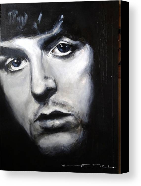 Celebrity Portrait Paul Mccartney During The Beatles Era. Canvas Print featuring the painting Sir Paul Mccartney by Eric Dee