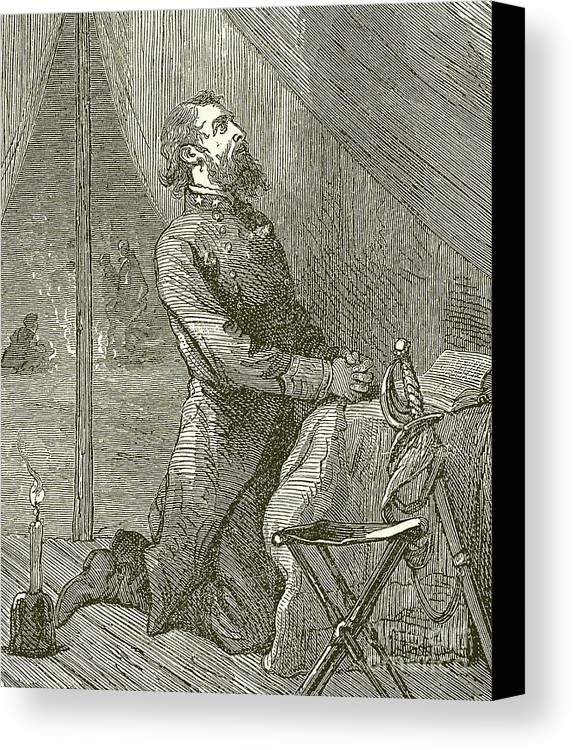 Stonewall Jackson Canvas Print featuring the drawing Stonewall Jackson Praying Before The Battle by English School