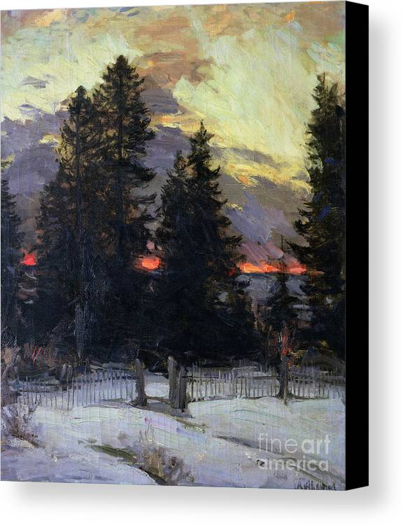 Sunset Canvas Print featuring the painting Sunset Over A Winter Landscape by Abram Efimovich Arkhipov
