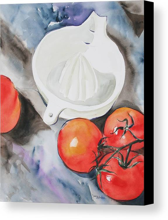 Tomatoes Canvas Print featuring the painting Sunshine On The Vine by Jean Blackmer