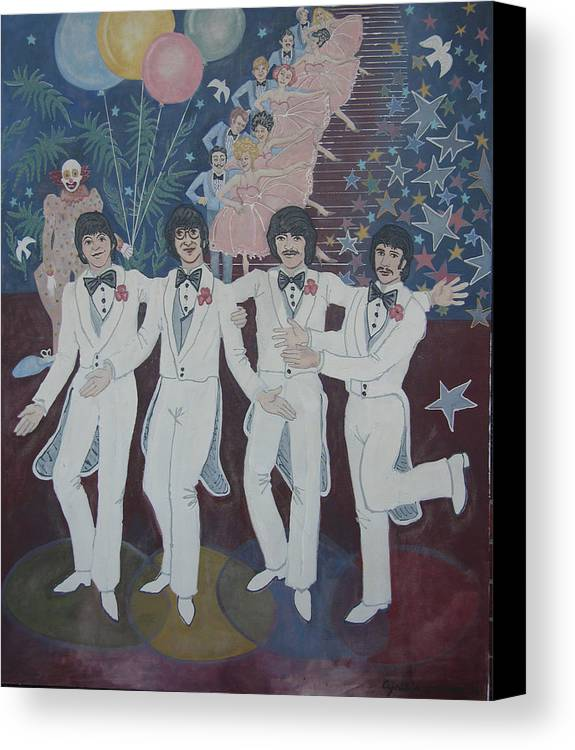 People Canvas Print featuring the painting The Beatles by Cynthia Lennon