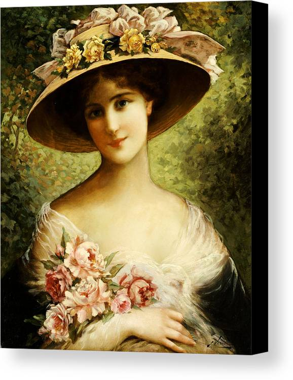 The Fancy Bonnet (oil On Canvas) By Emile Vernon (1872-1919) Rose Canvas Print featuring the painting The Fancy Bonnet by Emile Vernon