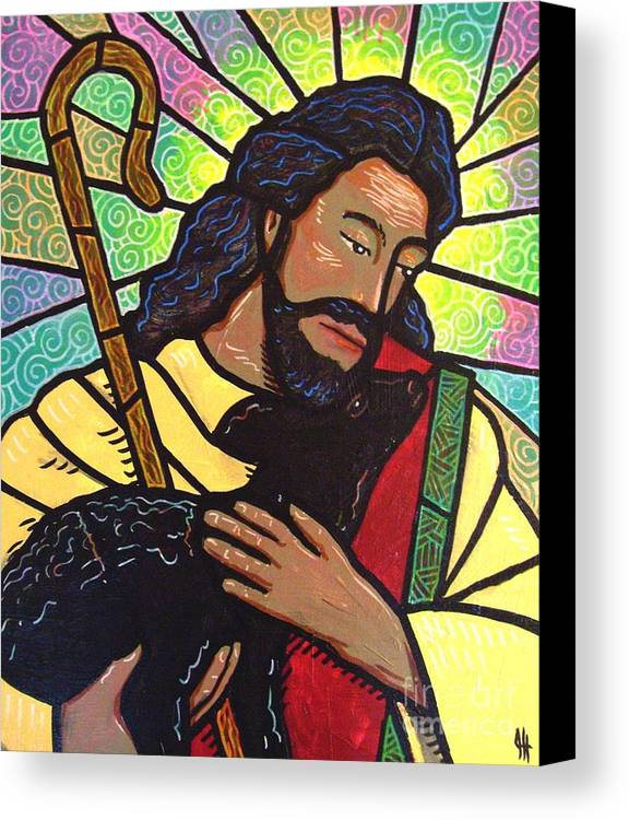 Jesus Canvas Print featuring the painting The Good Shepherd - Practice Painting Two by Jim Harris