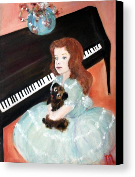 Piano Canvas Print featuring the painting The Pianist And Her Pekinese by Michela Akers