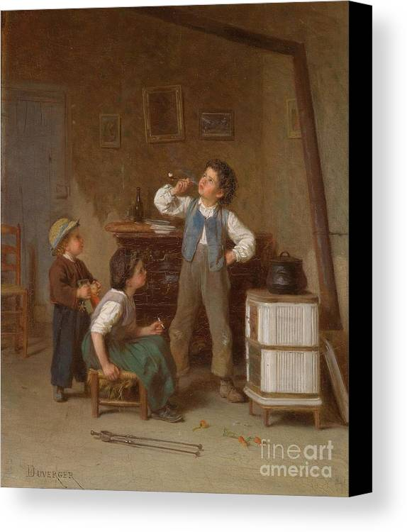 Theophile Emmanuel Duverger (bordeaux 1821- C.1901) The Young Pipe Smoker Canvas Print featuring the painting The Young Pipe Smoker by MotionAge Designs