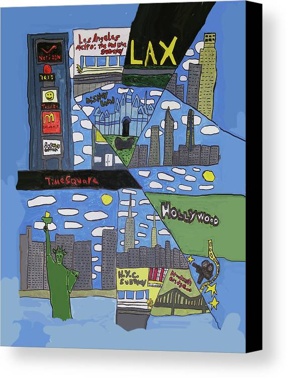 Times Square Canvas Print featuring the painting Times Square by Artists With Autism Inc