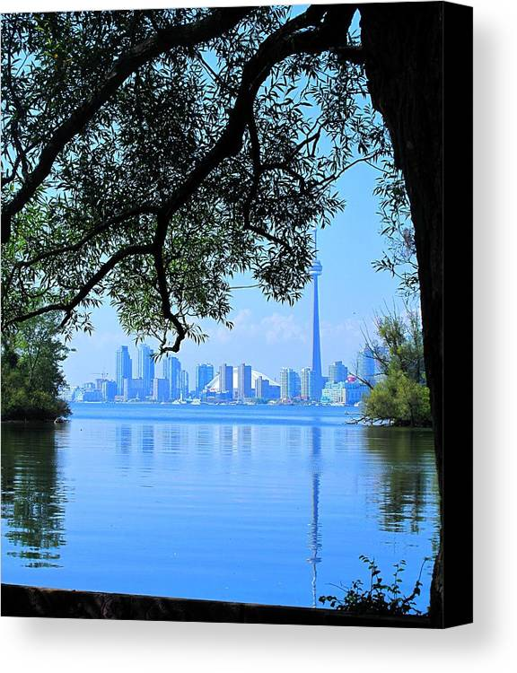 Cn Tower Canvas Print featuring the photograph Toronto Framed by Ian MacDonald