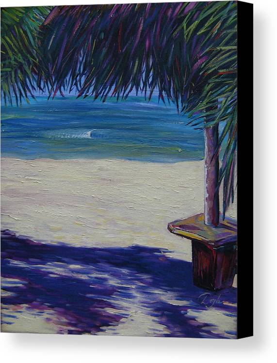 Ocean Canvas Print featuring the painting Tropical Beach Shadows by Karen Doyle