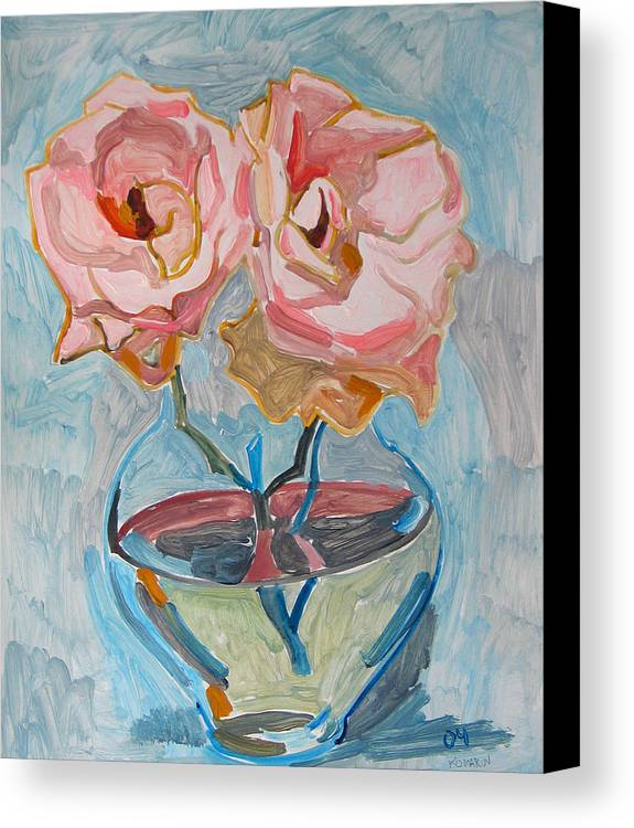 Rose Canvas Print featuring the painting Two Pink Roses by Vitali Komarov