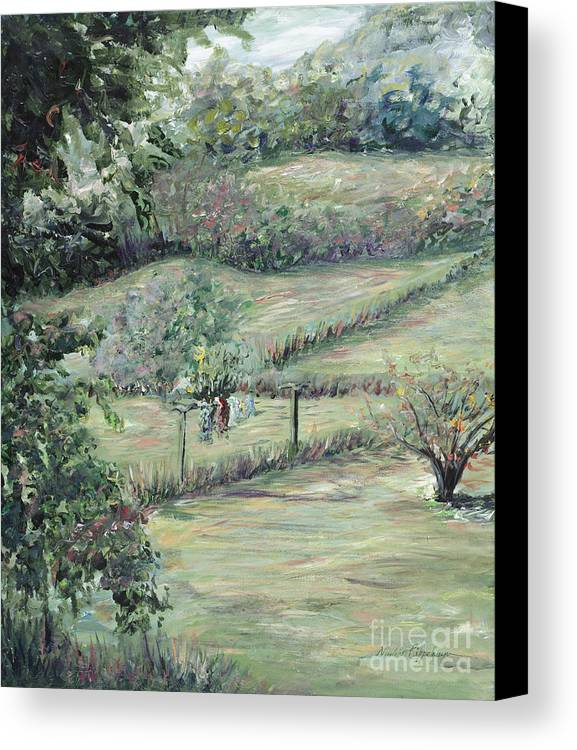 Landscape Canvas Print featuring the painting Washday In Provence by Nadine Rippelmeyer