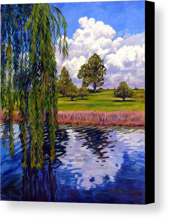 Landscape Canvas Print featuring the painting Weeping Willow - Brush Colorado by John Lautermilch