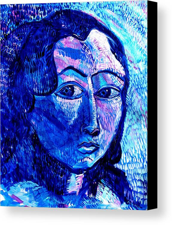 Blue Canvas Print featuring the painting What Happens To Me Is What I Do by Rollin Kocsis