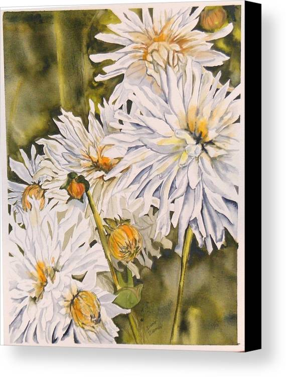 White Canvas Print featuring the painting White Dahlias by Diane Ziemski