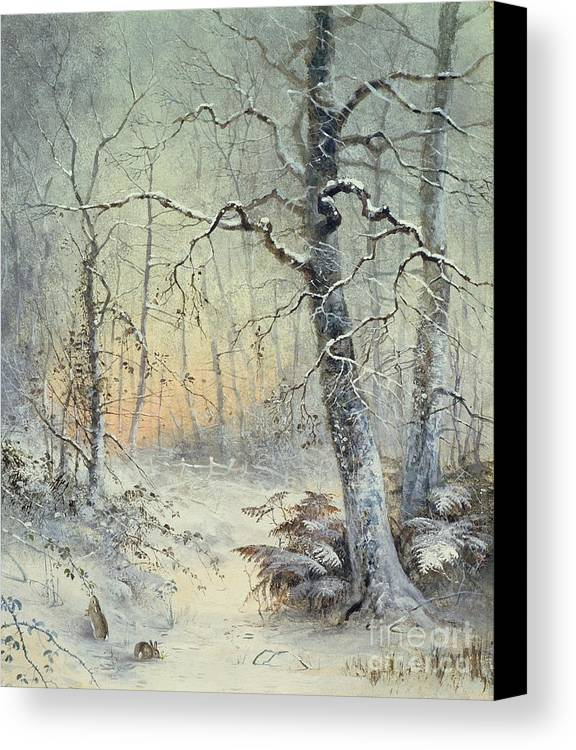 Winter Canvas Print featuring the painting Winter Breakfast by Joseph Farquharson